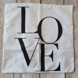LOVE Throw Pillow Cover NEW White and Black